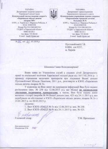 Фото документа о отсутствии питания и медикаментозного лечения в стационаре больницы
