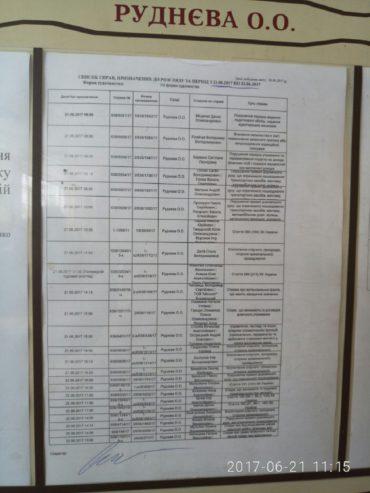 Інформація на стенді у приміщенні суду