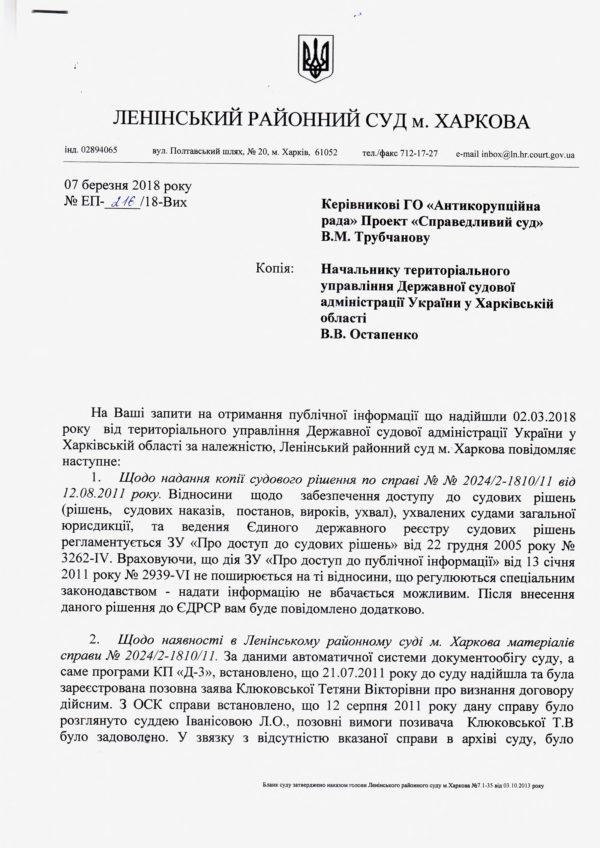 Ответ Ленинского районного суда