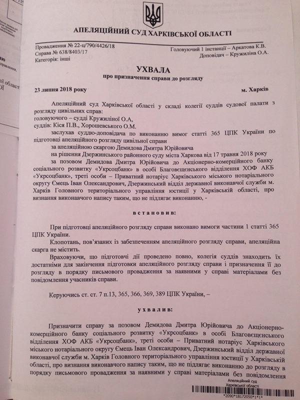 Подпись судьи Хорошевского на деле Демидова