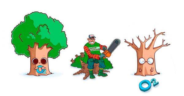 За уничтожение деревьев без акта начисляется штраф