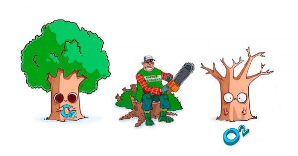 За уничтожение деревьев без акта обследования начисляется штраф